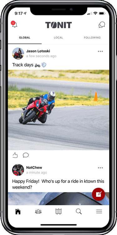 Share pics and rides on the social feed