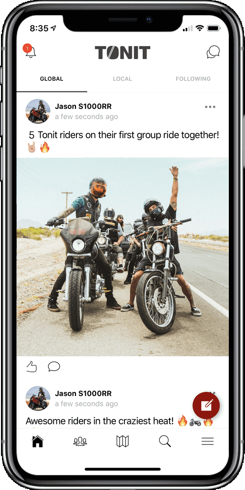 Tonit motorcycle app - Find friends, plan rides, share experiences